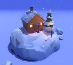 I made art for a winter themed lowpoly game. Lowpoly Art, Game Effect, Low Poly Models, Low Poly 3d, Board Art, 3d Artwork, Winter Theme, Make Art, Comme