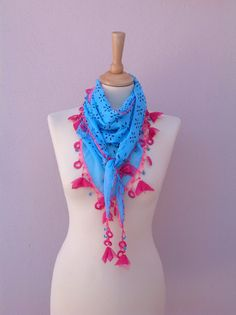 Ready to ship These scarves are beautiful, eye catching,young and sophisticated.  Cotton Fabric, soft, lightweight.   You can use a necklace, lariat ,