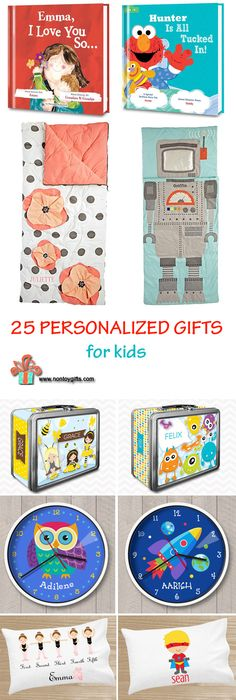 25 Personalized Gifts for Kids. The list includes gift ideas for kids of all ages, from babies to older kids. Birthday gift ideas.