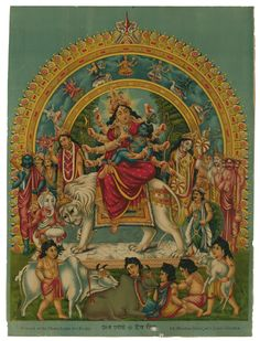 Devi+Durga+and+her+Family+with+Little+Krishna+in+her+Lap+-+Vintage+Poster