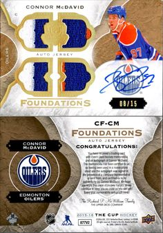 Ice Hockey Cards 216: Connor Mcdavid 2015-16 The Cup Foundation Rookie Jersey Patch Auto # 15 Oilers -> BUY IT NOW ONLY: $2999.95 on eBay!