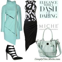 """""""Elegance with a Dash of Daring! - Miche Demi Luxe Caracas"""" by miche-kat on Polyvore Miche Demi Luxe Caracas http://www.simplychicforyou.com/ #michebag #Micheluxe #Interchangeablepurse  #mintgreen #blackandwhite"""