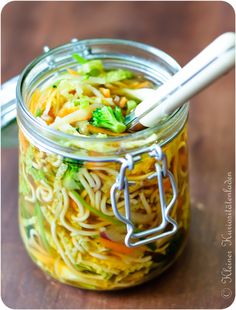Home-made instant soup in a jar