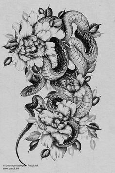Snake And Flowers Tattoo, Snake Tattoo, Flower Tattoos, Tattoo Designs, Tattoo Design Drawings, Tattoo Sketches, Kobra Tattoo, Thigh Piece Tattoos, Side Tattoos Women