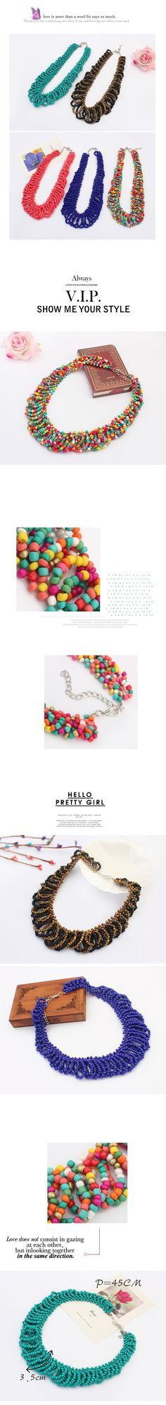 Define multicolor beads weave design alloy Korean Necklaces http://www.asujewelry.com