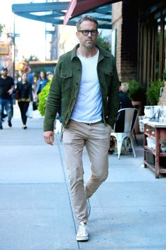 Speaking of on-point casual looks: Here's Ryan Reynolds wearing a truly fantastic green suede jacket (it's by Officine Generale, and you can get it here). He's walking proof that bringing a little color into your outerwear rotation is a very good idea.