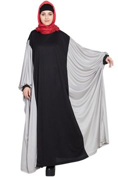 062c13c75f Description: Kaftan Style Contrast Black Grey Irani Abaya, Black/ Grey,  Kaftan/