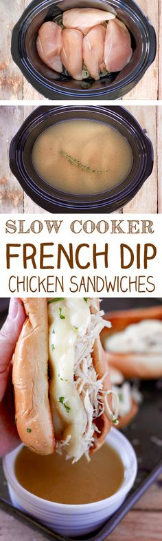 Slow Cooker Chicken French Dip Sandwiches on Toasted Garlic Bread