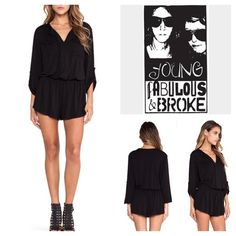 """Young Fabulous & Broke Black Romper.  NWT. Young Fabulous & Broke Black Jersey Romper, 95% rayon, 5% spandex, washable, 21"""" armpit to armpit (42"""" all around), 28"""" elastic waist which stretches up to 38"""", 14.5"""" arm inseam, 12"""" front rise, 15"""" back rise, 33"""" length, double front flap pockets with button closure, rolled tab sleeves, V-neckline, elasticized  waist, pull-on style, jersey knit, measurements are approx.  No Trades... Young Fabulous & Broke Pants Jumpsuits & Rompers"""
