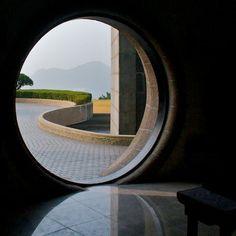 A round portal at the Korean War memorial in Busan, South Korea.