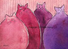 Pink and purple cats