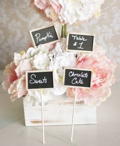 Cute signs #chalkboard #wedding #reception #party #decor #bridal #shower #baby #pink #white #flowers #centerpiece