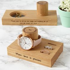 Personalised Ladies Ring And Watch Stand. A contemporary and beautifully handcrafted solid oak ladies ring and watch stand, designed to display a collection of the recipient's precious pieces of jewellery. Ring Storage, Jewellery Storage, Wooden Rings, Wooden Jewelry, 5th Wedding Anniversary Gift, Ring Stand, Idee Diy, Unique Gifts, Place Card Holders