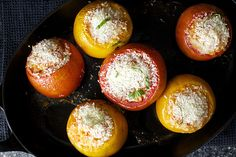 rice-stuffed tomatoes | smitten kitchen Made these last night. They're delicious and pretty, but make sure you use medium-sized, somewhat firm tomatoes. Mine were too big and I ended up with several blobs of tomato-rice mush and one perfect stuffed tomato!