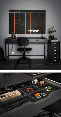 Desk organisation ideas like drawer inserts, magnetic containers and a painted wall calendar shown in and above a grey desk with two drawers