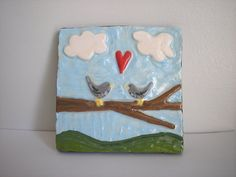 Tile Carved Ceramic Love Birds Wall hanging by PeachBlossomStudio