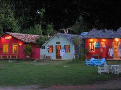 "Cute colorful houses of ""Quadrado"" in Trancoso village, Bahia. Easy life <3"