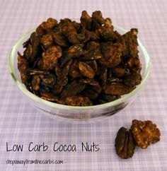 Low Carb Cocoa Nuts - made in the slow cooker - the perfect low carb snack! Best Low Carb Recipes, Nut Recipes, Sugar Free Recipes, Real Food Recipes, Cooker Recipes, Favorite Recipes, Food Tips, Yummy Recipes, Kitchens