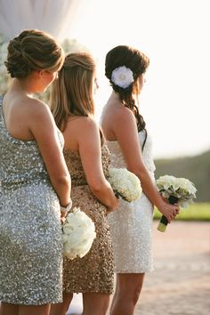 Gorgeous sparkly metallic bridesmaid dresses for glamorous  wedding at The Resort at Pelican Hill, photo by APictureLife Photography | junebugweddings.com