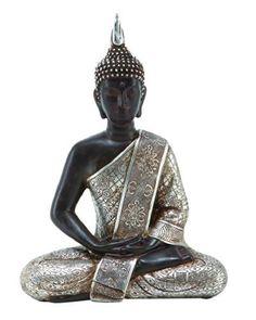 "bombayjewel Tibet Buddha Dhyana Mudra with Silver Robe Polyresin, 11"" H bombayjewel"