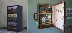 Suitcase drawers and an old suitcase repurposed as a bathroom cabinet, genius!!