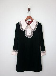 60s jade velvet mini dress