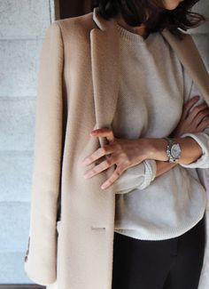 Neutrals on top with black pants - work
