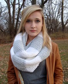 Crochet a Rugby Stripe Circle Scarf! A knit look pattern that can be worn lots of different ways.