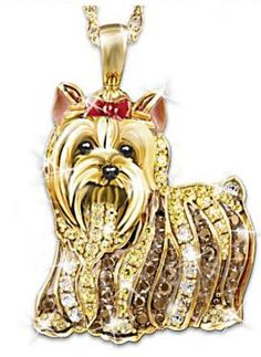Yorkshire Terrier Yorkie jewelry. Dazzling crystal pendant necklace. #yorkies #terriers #toy dogs #bling