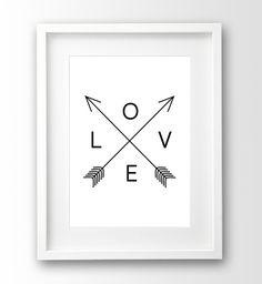 Love Print, Typografie, schwarz weiß Poster von nanamiadesign auf DaWanda.com