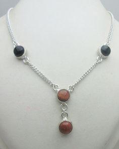 Silver Tone Metal Onyx Sun Star Stone Gemstone Necklace Jewelry Fine Quality NK_201 26 GM ready to ship