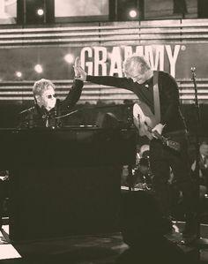 Ed Sheeran performing at the Grammys with Elton John!