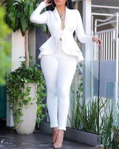 Sexy v neck ruffles tops skinny pants set Women two piece set Elegant office ladies workwear club outfits Casual tracksuit, White / XXL Trend Fashion, Womens Fashion, 50 Fashion, Style Fashion, Cheap Fashion, Latest Fashion, Fashion Today, Dark Fashion, Fashion Kids