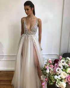 long prom dresses - Sexy Deep V Neck Long Prom Dress, Split Slit Evening Party Dress Ivory Prom Dresses, V Neck Prom Dresses, Grad Dresses, Ball Dresses, Formal Dresses, Wedding Dresses, Long Dresses, Beaded Evening Gowns, Evening Dresses