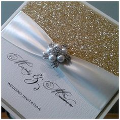 Handmade Luxury Glitter Wedding Invitation by CrystalCoutureInvite