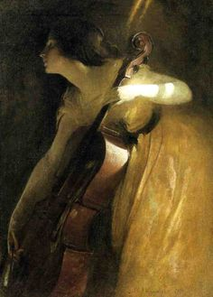 John White Alexander, 1898. A Ray of Sunlight (also known as The Cellist) - http://www.the-athenaeum.org/art/detail.php?ID=16173