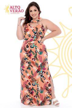 Vestido Longo Plus Size Shiva - daluzplussize Vestidos Plus Size, Plus Size Dresses, Modelos Plus Size, Looks Plus Size, Moda Plus Size, Shiva, Summer Collection, Spring Outfits, Plus Size Fashion
