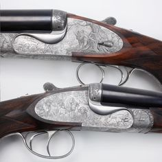 THE BERETTA SET OF FOUR: Fabbrica d'Armi Pietro Beretta S.p.A., the world's oldest gunmaking and industrial firm, has been producing firearms in northern Italy since the days of Leonardo DaVinci and Christopher Colombus. Evidence suggests that Bartolomeo Beretta, a master barrel maker, operated an iron forge in the Val Trompia Valley as early as 1500. These spectacular group of double rifles are a result of a unique collaboration between Ugo Beretta and fellow hunter Robert Jepson.