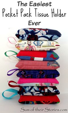 easy to make pocket pack tissue holder | sumoftheirstories.com | #sewing #tissuepouch