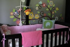 Spotted: our Scroll Tree in a nursery. The pink bedding really makes the flowers pop! ^nn