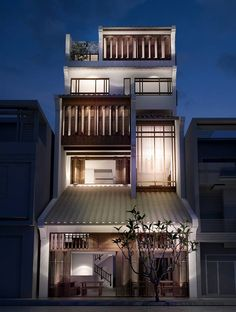 Kyoto Japan At Night - Japan House Game - - Villa Design, Facade Design, Design Design, Design Ideas, Japan Modern House, Japan House Design, Narrow House Designs, Small House Design, Japan Architecture