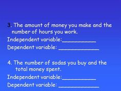 Independent and dependent variable