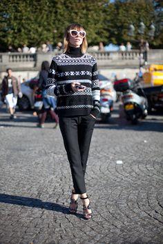 STREET STYLE SPRING 2013: PARIS FASHION WEEK - Anya get fair isle in a cozy sweater.