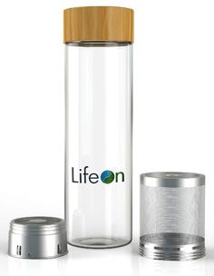 Amazon.com | Tea Tumbler with Infuser by LifeON - Tea Infuser, Fruit Infuser Water Bottle - Double Wall Glass, Sweatproof Bottle, Bamboo Lid- Stainless Steel Strainer & Infuser Basket - Easy to Clean: Tumblers
