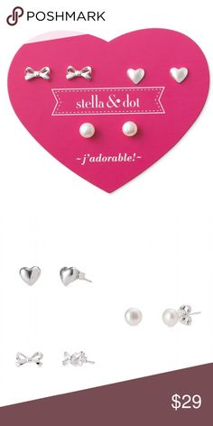 Stella & Dot Mini Pearl Trio Earring Set for kids Surprise your little girl with a ribbon, pearl & heart trio earring set from Stella & Dot.  A ribbon bow, freshwater pearl and heart trio pack. Perfect for a special occasion or everyday *5-6mm studs. *Featherweight. *Sterling Silver. *NWT, but without the packaging box. Stella & Dot Accessories Jewelry