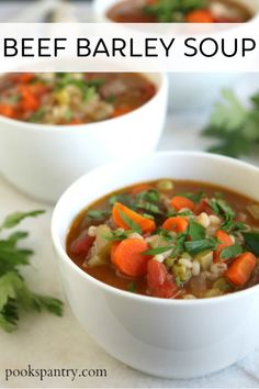 Hearty beef barley soup, full of vegetables and a rich tomatoey broth. #beefbarleysoup #souprecipe #beefbarley #beefrecipe Beef Ribs Recipe, Beef Steak Recipes, Beef Casserole Recipes, Rib Recipes, Fall Recipes, Chowder Recipes, Soup Recipes, Beef Recipe Instant Pot, Beef Barley Soup
