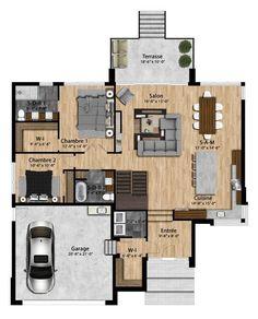 Le Peterson est un modèle plain-pied avec une architecture contemporaine qui su… The Peterson is a single-storey model with contemporary architecture that surprises with its. The Plan, How To Plan, Cottage Plan, Cottage Homes, Small House Plans, House Floor Plans, Architecture Plan, Contemporary Architecture, Small House Decorating
