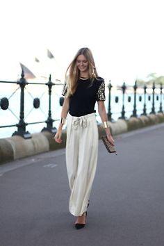 Palazzo Pants Fashion Trends 2015 For Girls Fashion Moda, Fashion Pants, Love Fashion, Womens Fashion, Fashion Trends, 2014 Trends, Looks Chic, Looks Style, Blazer En Tweed