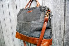 Mrs. Buford Diaper Bag:  Brown Leather via Etsy.