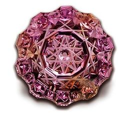 by Dalan Hargrave. 37mm, 95-carat ametrine, double spirographic cut with flat and concave faceted pavilion